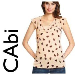 NWT CAbi Ruffle Top 981 Blouse Short Sleeve Cream